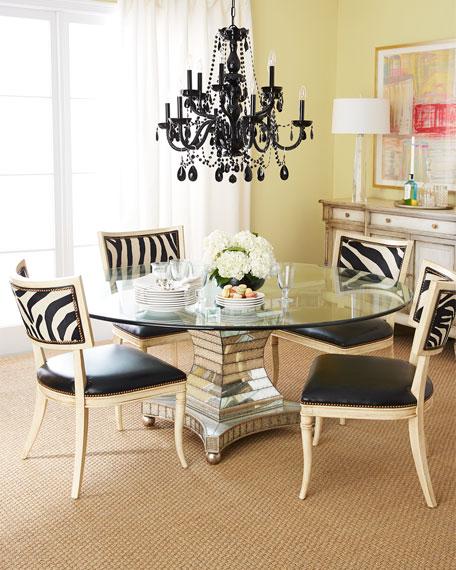Black Zebra Leather Dining Chair