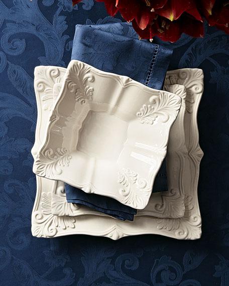 12-Piece White Square Baroque Dinnerware Service