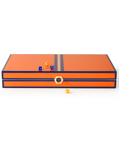 Jonathan Adler Orange Lacquer Backgammon Set