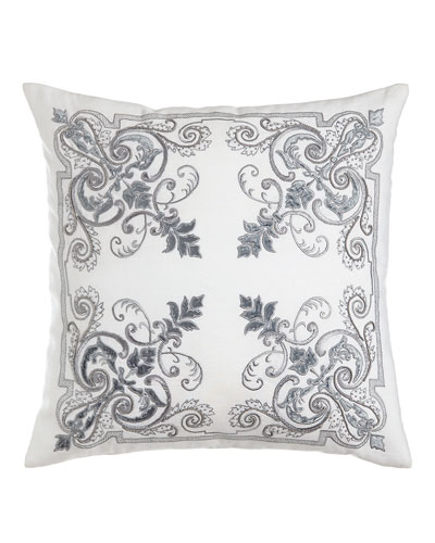 Troyes Embroidered Accent Pillow  22Sq.