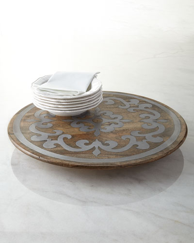 Wood Lazy Susan with Metal Inlay