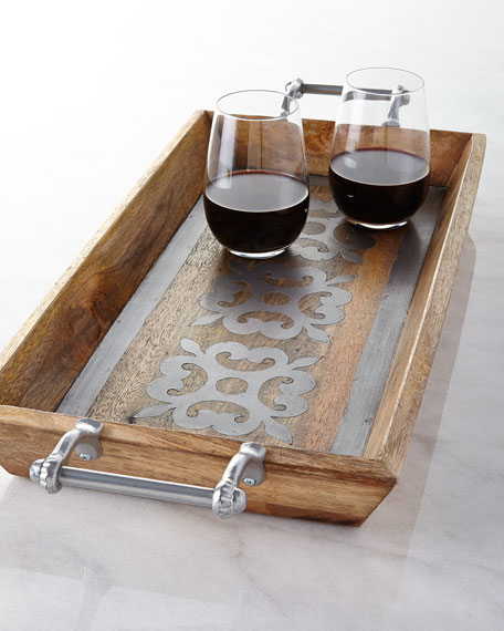 Wood Tray with Metal Inlay