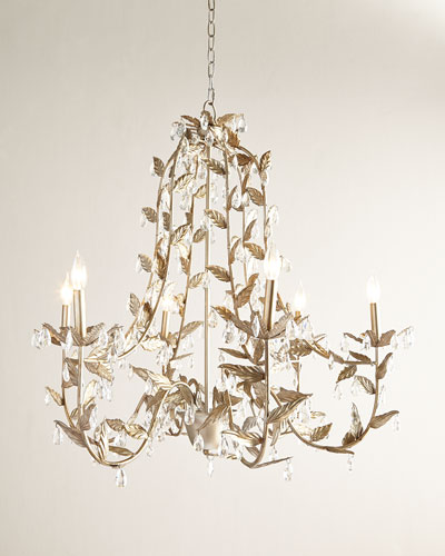 Cascading Leaves 6-Light Champagne Chandelier