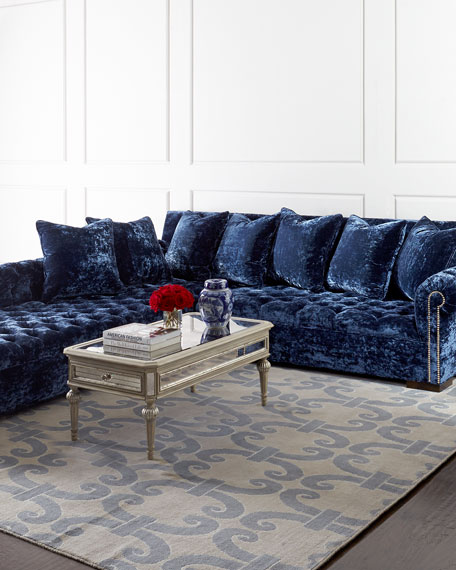 Divine Crushed Velvet Left Chaise Sectional 114""