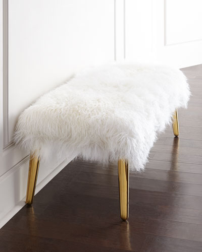 Long-Haired Sheepskin Bench