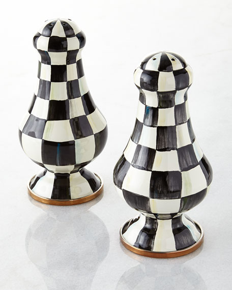 MacKenzie-Childs Courtly Check Enamel Large Salt & Pepper