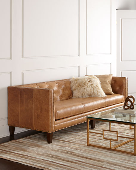Massoud Brock Leather Sofa 90