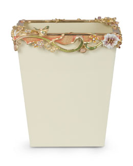 Devon Cream Floral Scroll Wastebasket