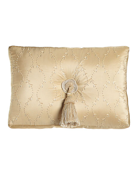 "Concord 13"" x 18"" Embroidered Silk Pillow with Center Tassel"