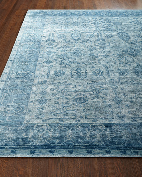 Sweet Blues Hand-Knotted Rug, 6' x 9'