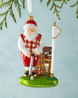 Golfing Santa Christmas Ornament