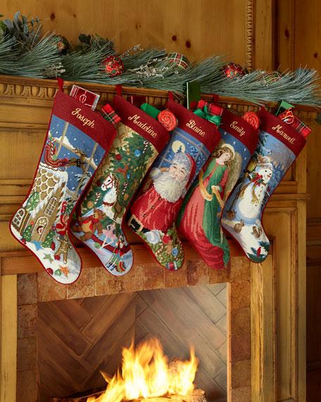 Sferra Needlepoint Holiday Stocking
