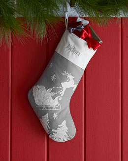 Sleigh Trees Gray Christmas Stocking