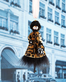Lady with Leopard Coat Christmas Ornament