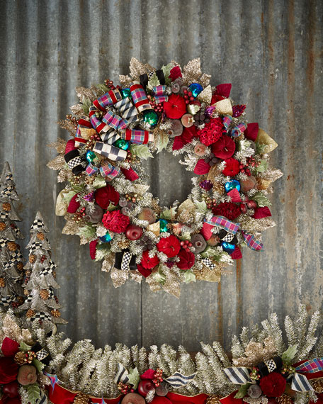 Mackenzie Childs Large Holiday Frost Christmas Wreath