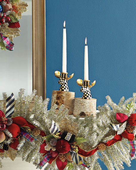 Courtly Check Moose Candlesticks, Set of 2