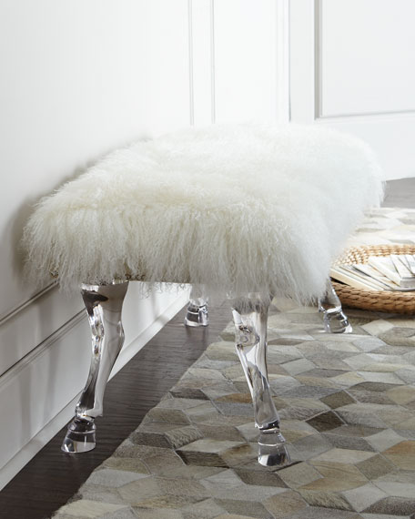 Centaur White Sheepskin Bench