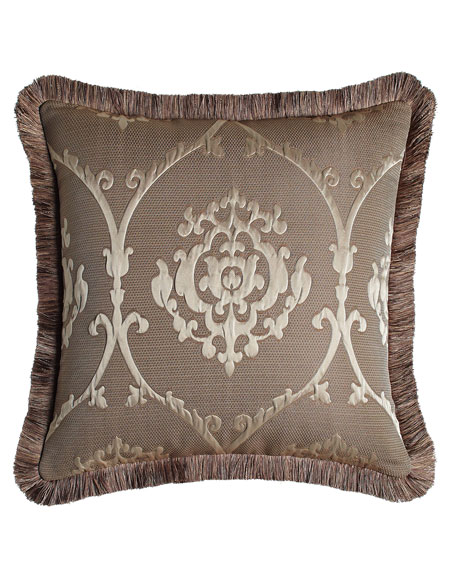 European Le Plaza Damask Sham with Fringe