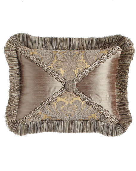 "Winter Twilight Ruched Silk Pillow, 12"" x 24"""
