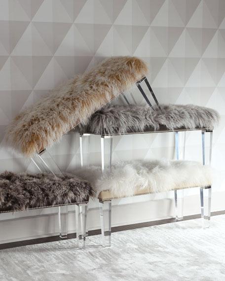 """Alala 60""""L Sheepskin Bench"""