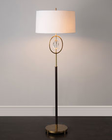 John-Richard Collection Crystal and Brass Floor Lamp