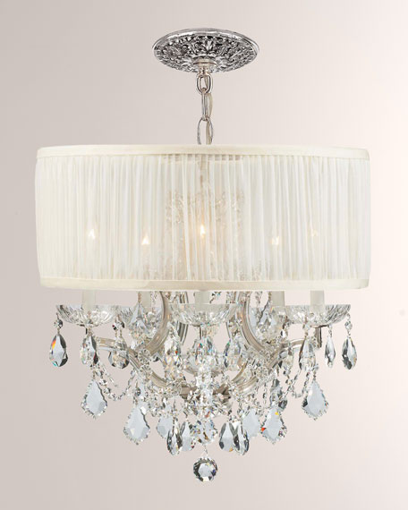 Crystorama Brentwood 6-Light Elements Crystal Chrome Drum Shade Chandelier