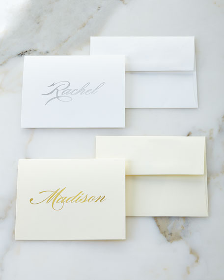Foil-Embossed Foldover Notes with Plain Envelopes