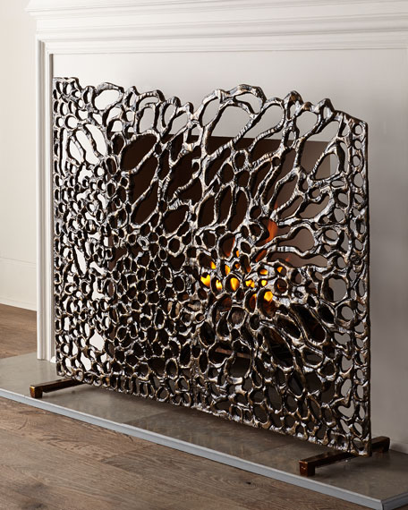 John Richard Collection Organic Bronze Fireplace Screen
