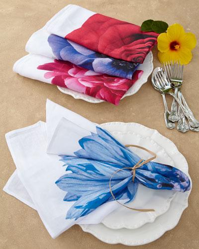 Assorted Flower Napkins, 4-Piece Set