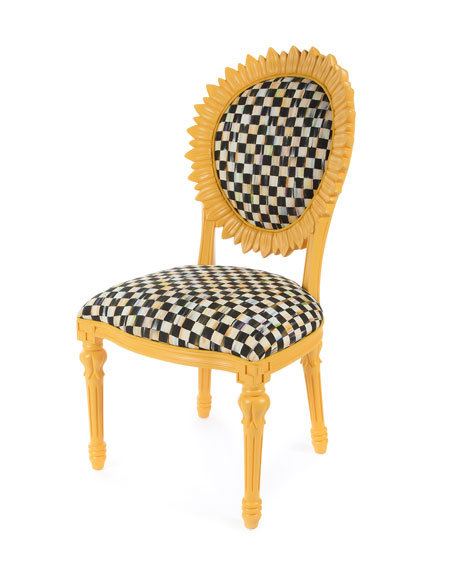 Gentil MacKenzie Childs Sunflower Yellow Outdoor Chair