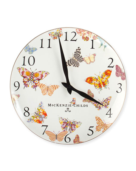 White Butterfly Garden Clock