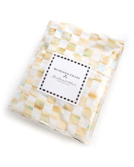 Twin Parchment Check Duvet Cover