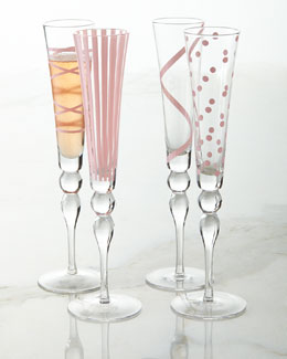 Pink Champagne Flutes, 4-Piece Assorted Set