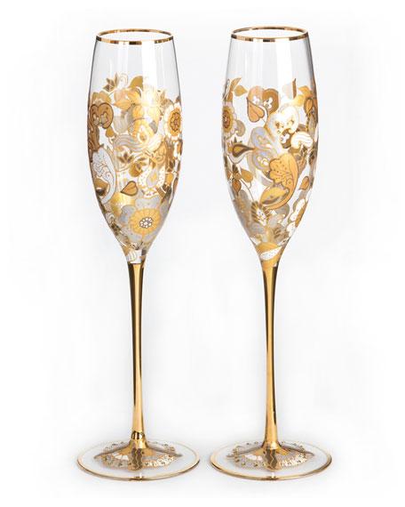 Floral-Vine Champagne Flutes, Set of 2