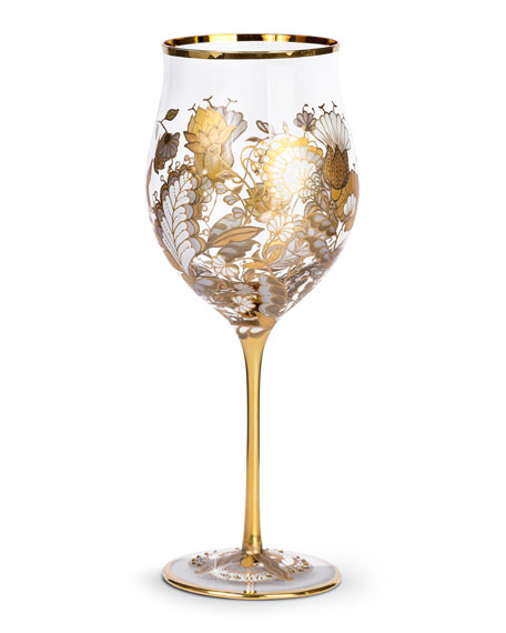Floral-Vine Wine Glasses, Set of 2