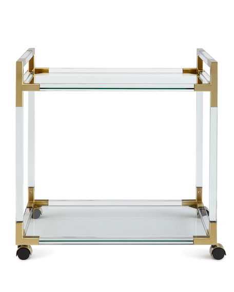 Jacques Acrylic & Brass Bar Cart