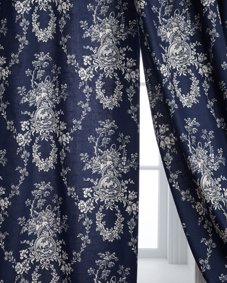 "Two 96""L Country Toile Curtains"