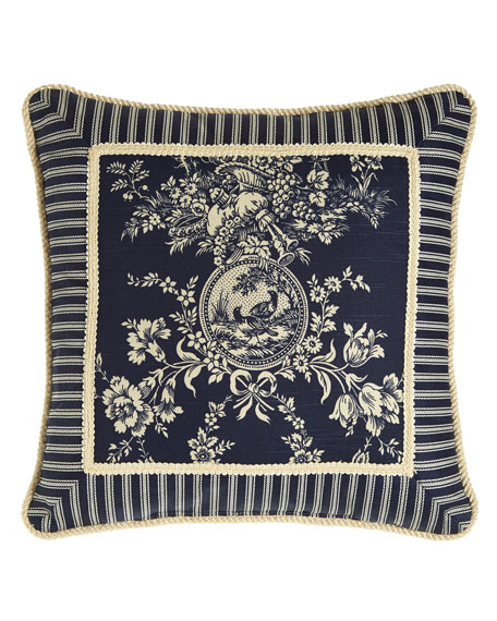 "Country Toile Pillow with Striped Frame, 19""Sq."