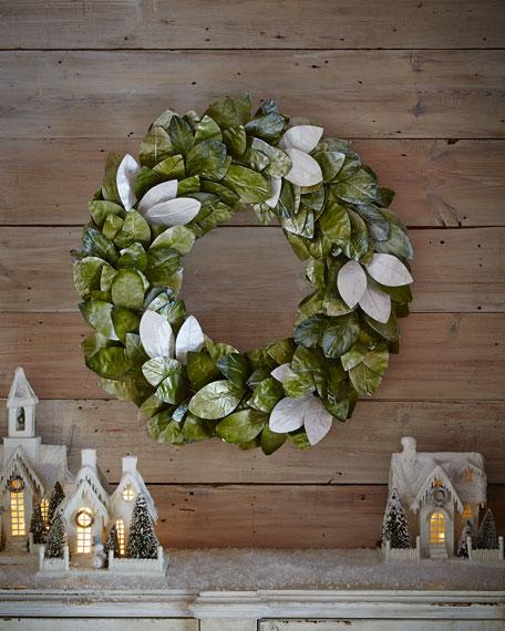 """Green & Silver Magnolia Leaf 28"""" Wreath"""