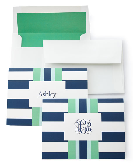 Navy Rugby Folded Notes with Plain Envelopes