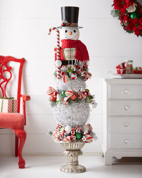 Classic Red & Green Snowman Topiary