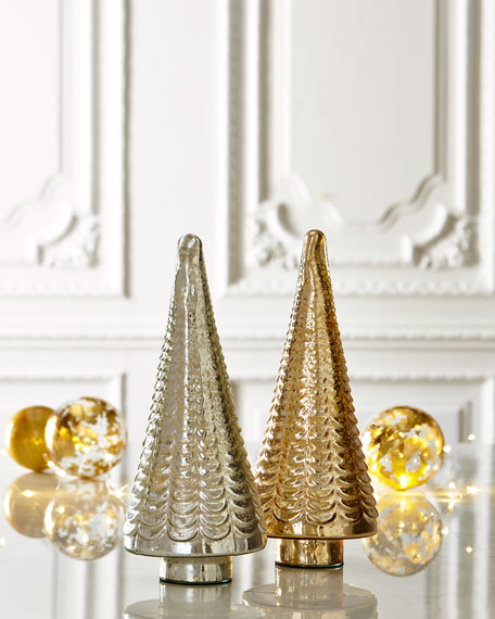 Gold silver mercury glass tabletop trees