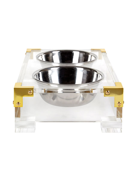 Acrylic & Brass Dog Bowl