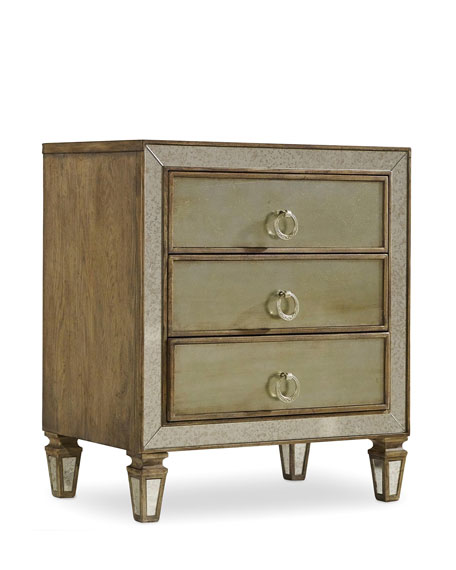 Hooker Furniture Ilyse Mirror-Trimmed Nightstand
