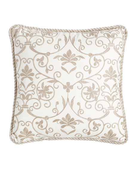 "Charlotte Embroidered Pillow, 18""Sq."