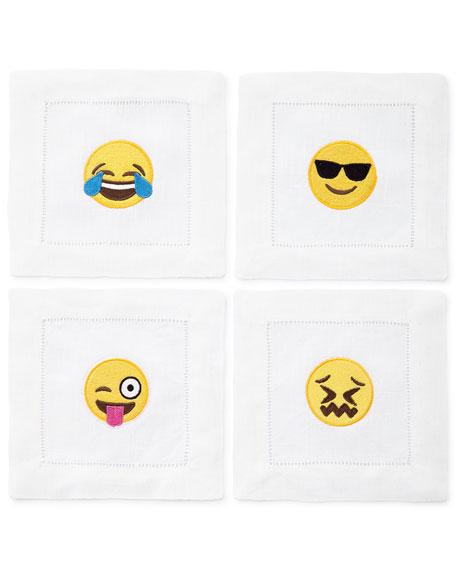 Emoji Emotional Roller Coaster Cocktail Napkins, 4-Piece Set
