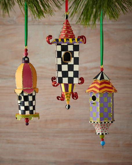 mackenzie childs birdhouse christmas ornaments 3 piece set - Bird House Christmas Decoration