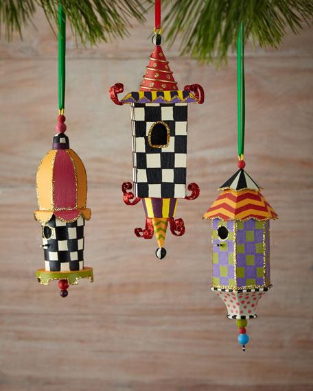 Birdhouse Christmas Ornaments, 3-Piece Set