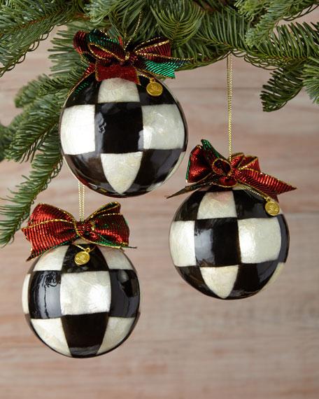 mackenzie childs small jester fancy ball christmas ornaments set of 3 - Small Christmas Ornaments
