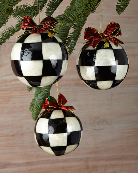 mackenzie childs jester fancy large christmas ball ornaments set of 3 - Large Christmas Ball Ornaments